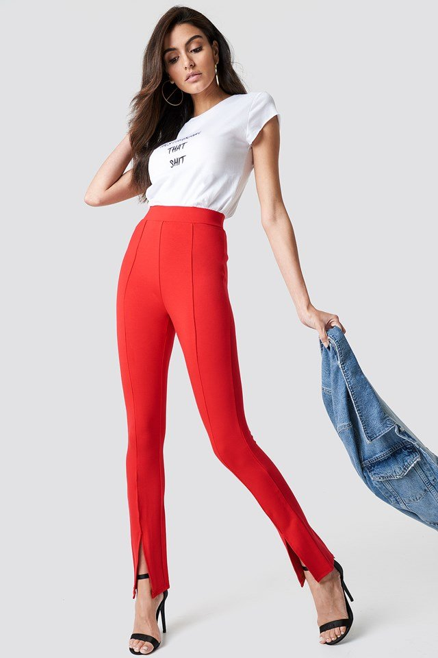 Front Slit Pants Red