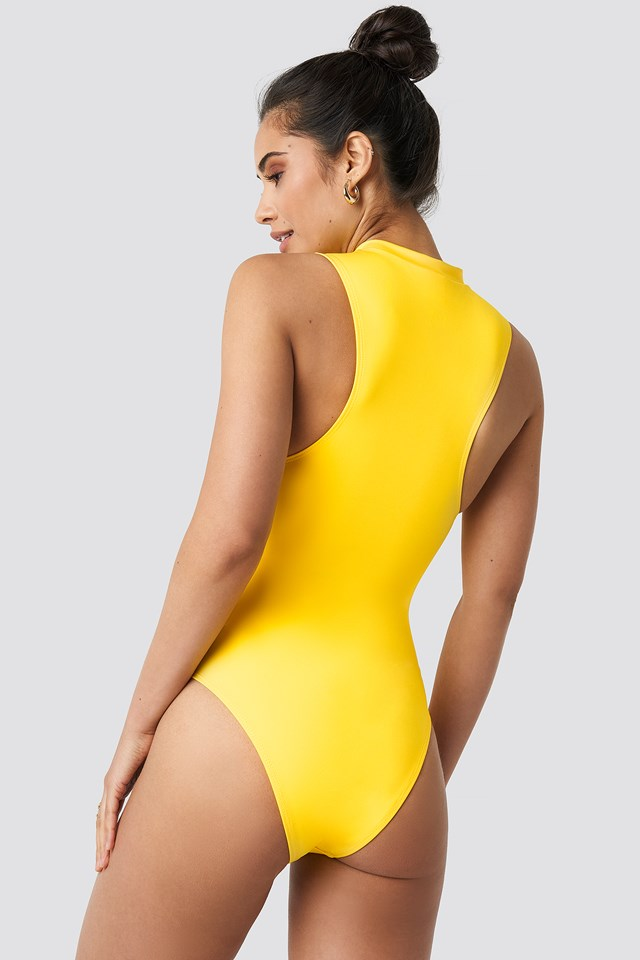 Front Zip Sporty Swimsuit Yellow
