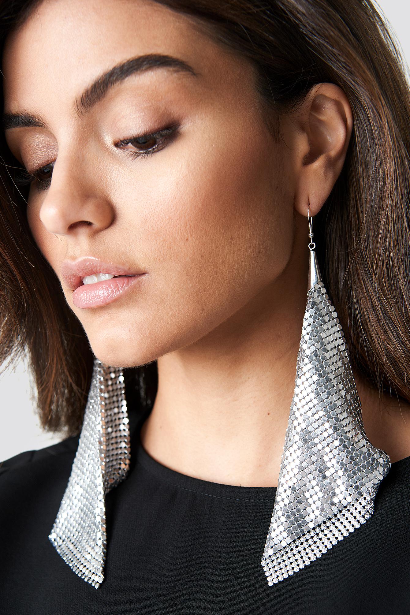 hannalicious x na-kd -  Hanging Metal Mesh Earrings - Silver