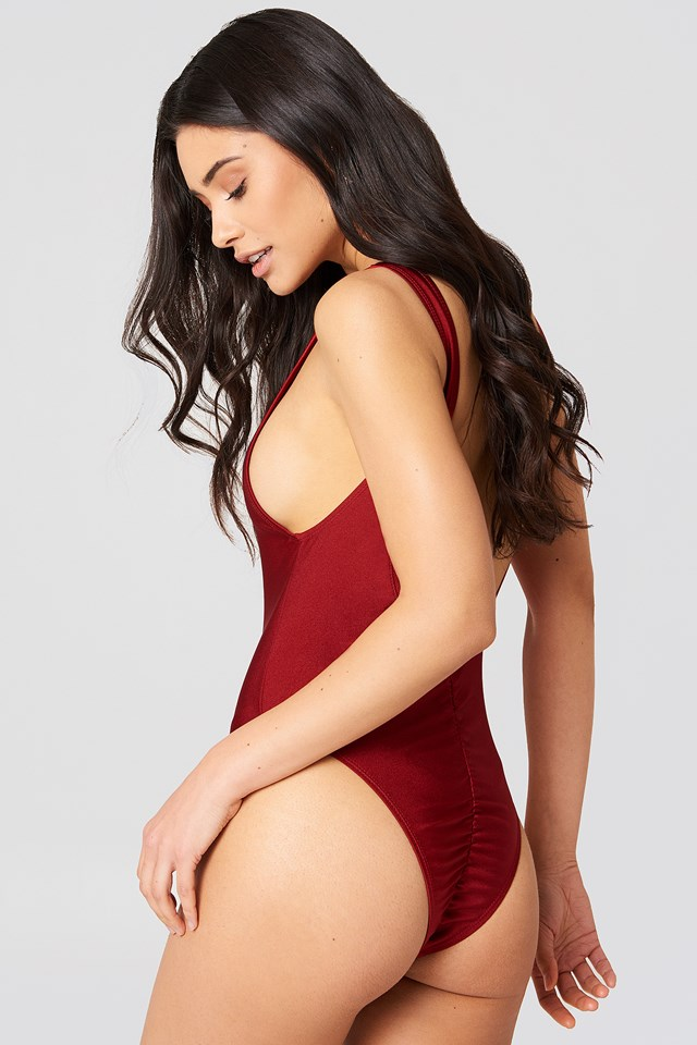 High Cut Swimsuit Dark Red
