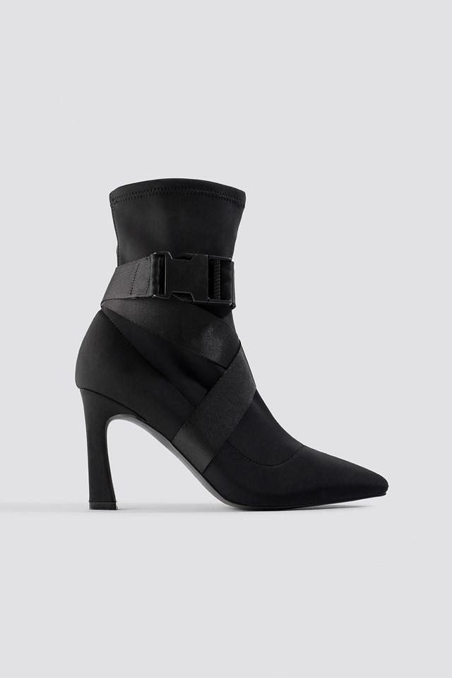 High Heel Belted Boots Black