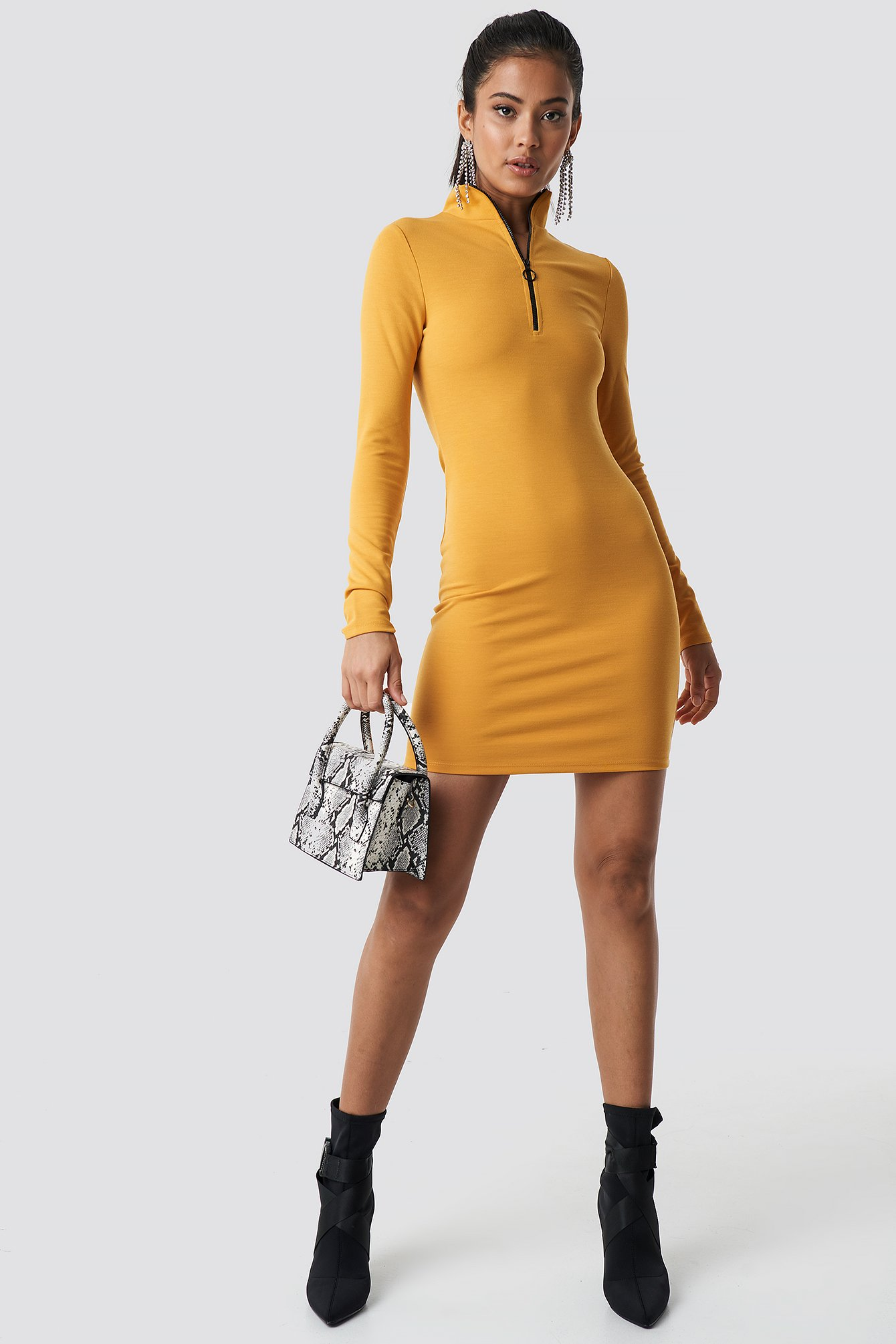 High Neck Zip Dress NA-KD.COM