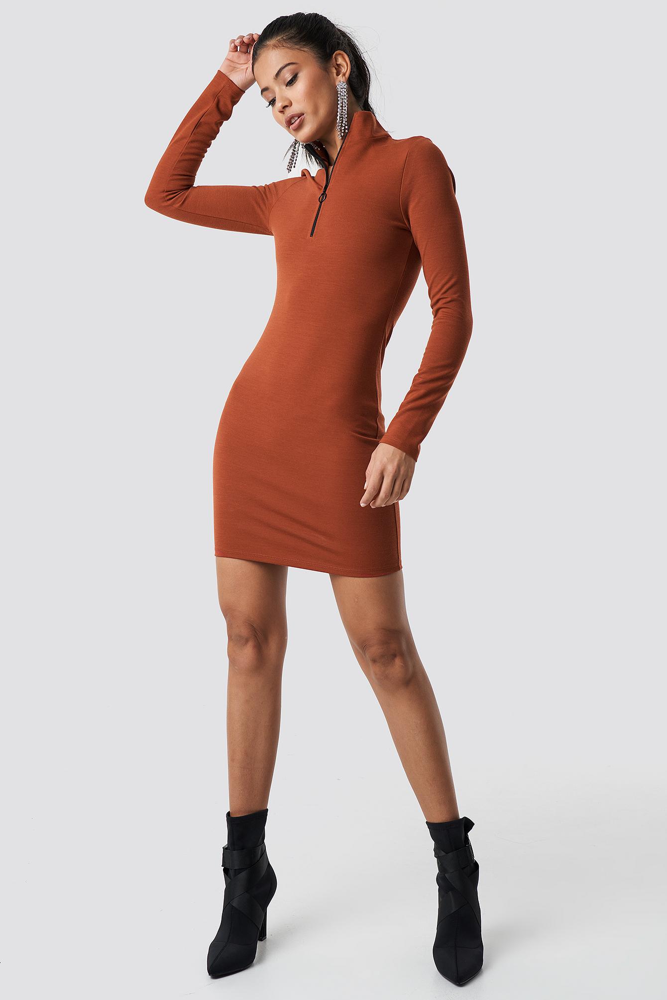 High Neck Zip Dress NA-KD.COM