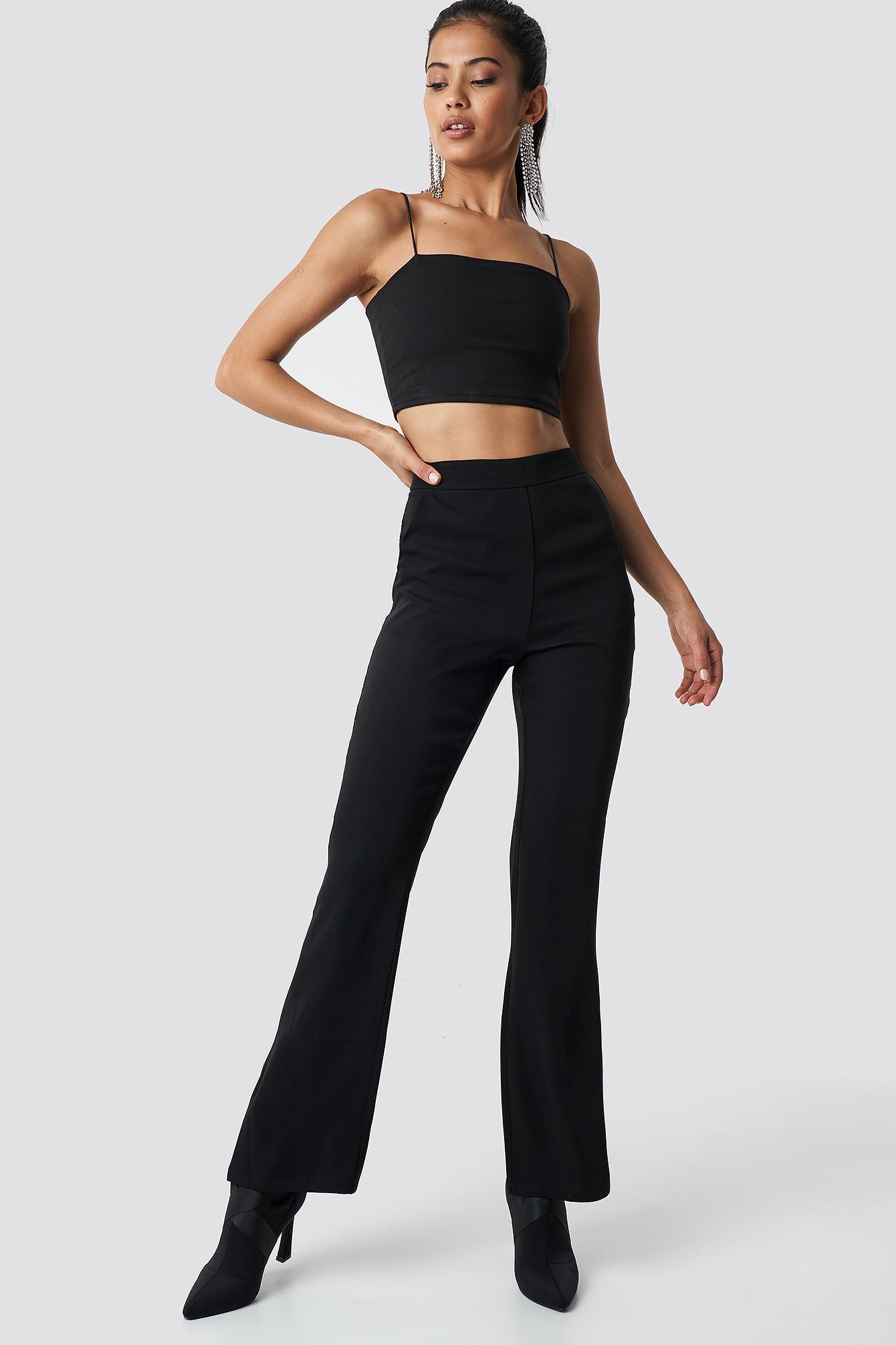 hannalicious x na-kd -  High Waist Bootcut Suit Pants - Black