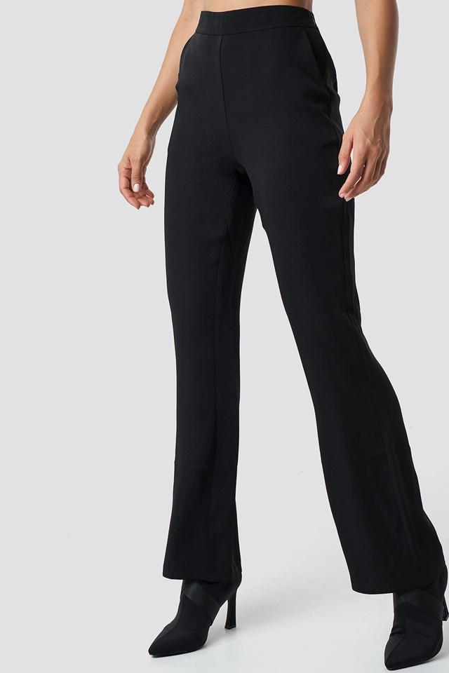 High Waist Bootcut Suit Pants Black