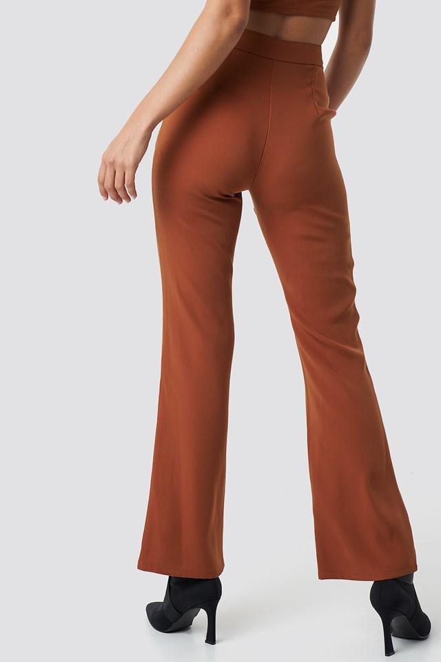 High Waist Bootcut Suit Pants Rust