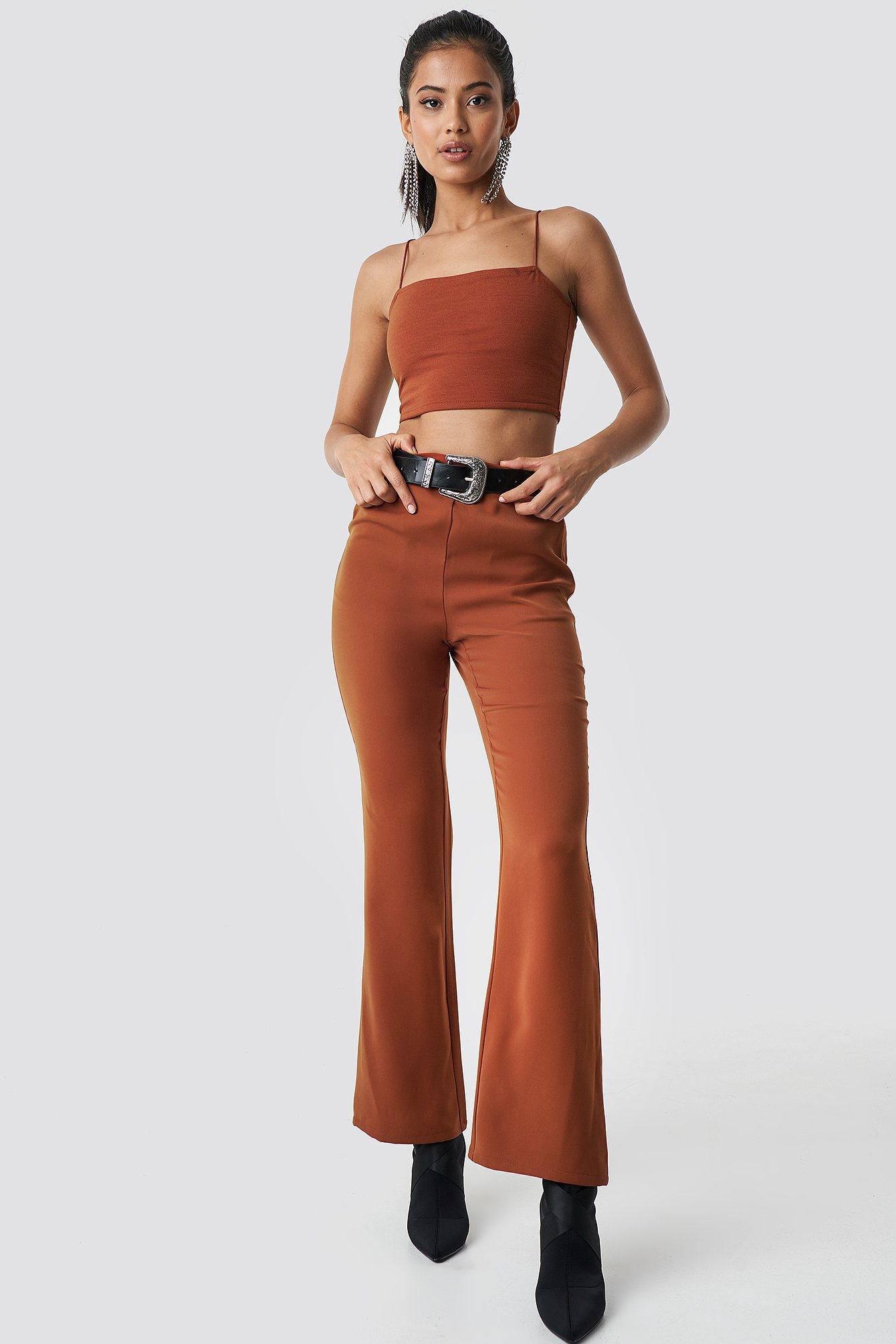 hannalicious x na-kd -  High Waist Bootcut Suit Pants - Orange