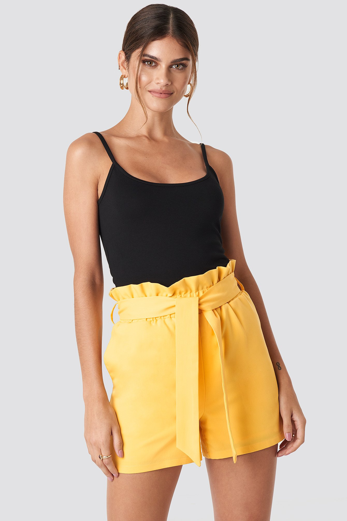 Yellow Highwaisted Paperbag Suit Shorts