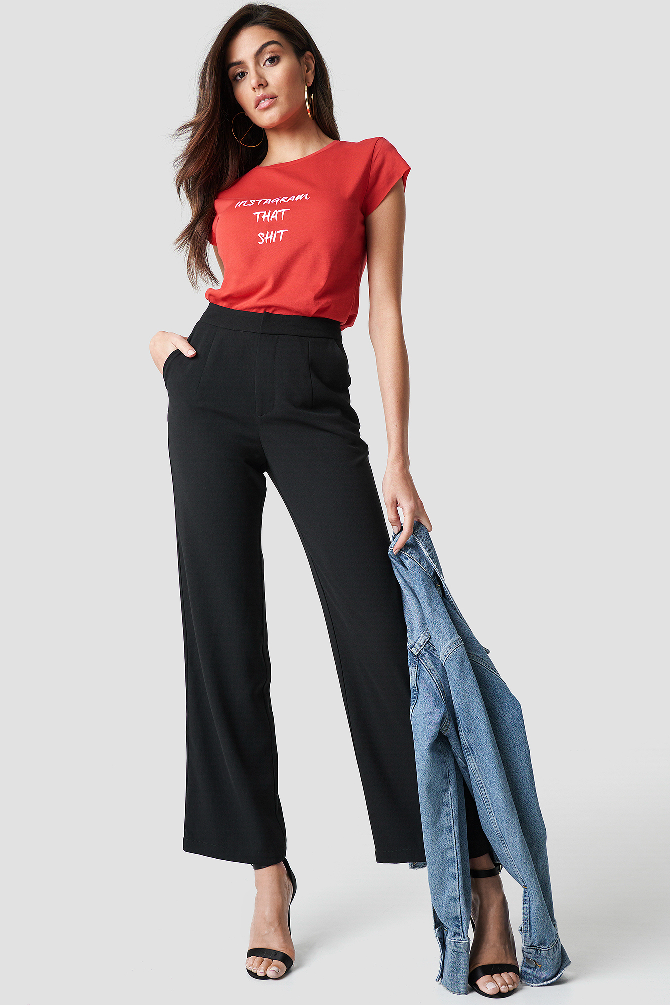 Highwaisted Straight Suit Pants NA-KD.COM