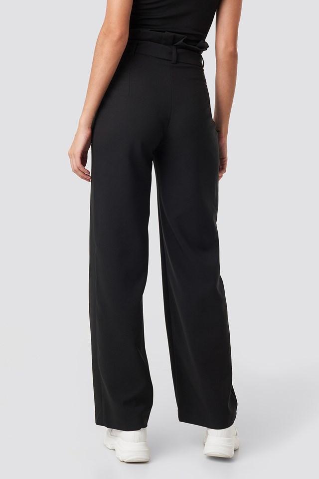 Highwaisted Tied Belt Pants Black