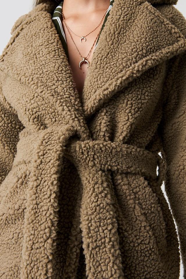 Płaszcz midi Teddy Brown