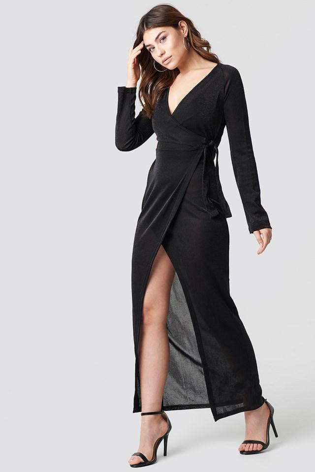 Glittery Long Sleeve Asymmetric Dress Black
