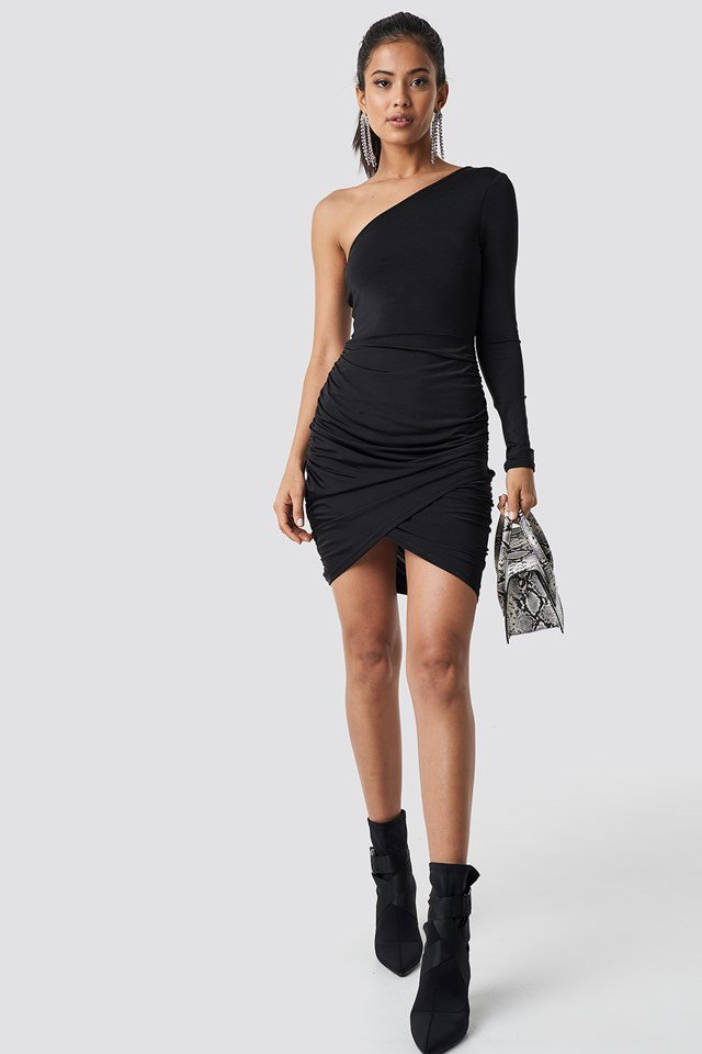 One Shoulder Draped Dress NA-KD.COM