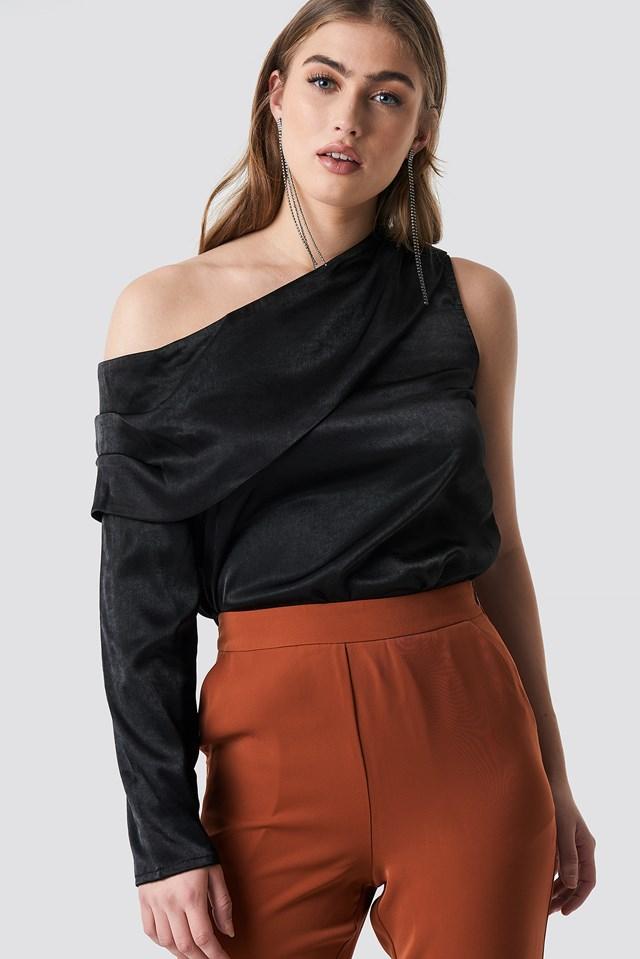 One Shoulder Satin Blouse Black