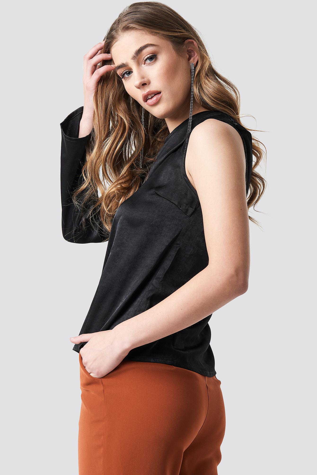 One Shoulder Satin Blouse NA-KD.COM