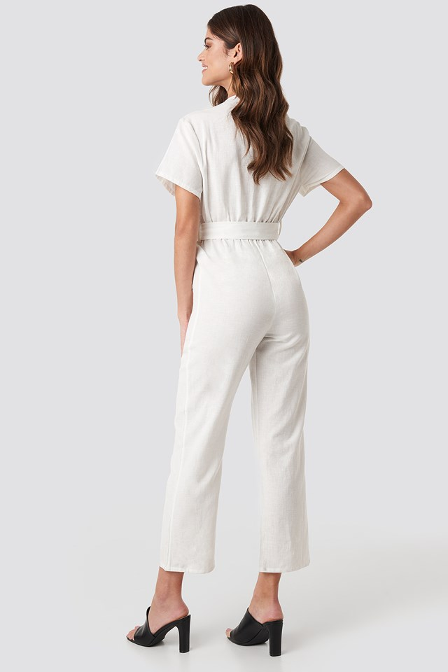 Overlapped Belted Linen Look Jumpsuit Off White