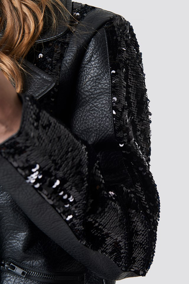 Oversized Sequin Faux Leather Jacket NA-KD.COM