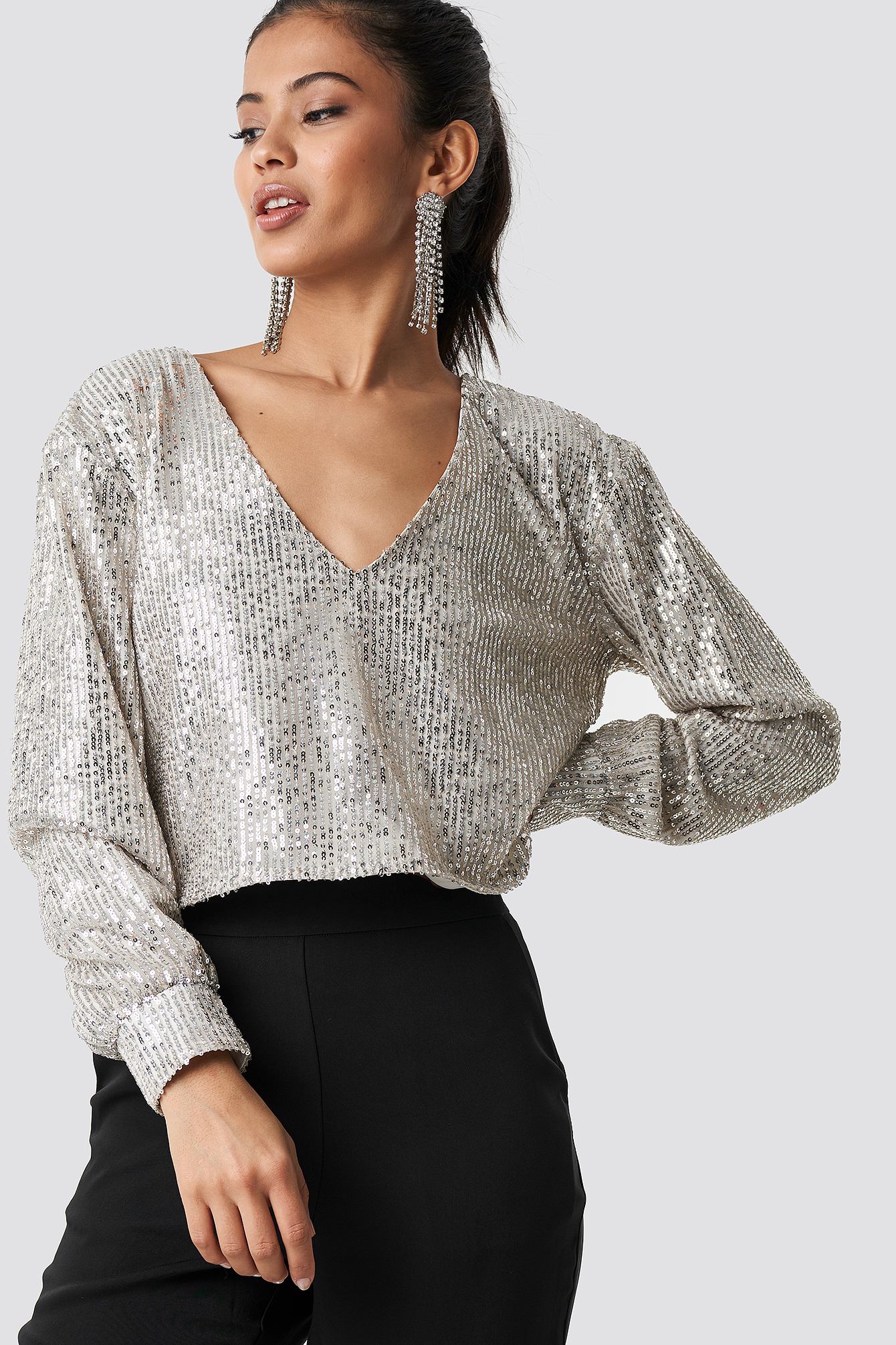 Oversized Wide Neck Sequin Blouse NA-KD.COM