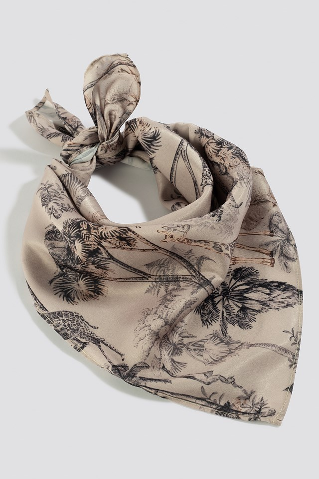 Printed Square Shape Shiny Scarf Safari Print
