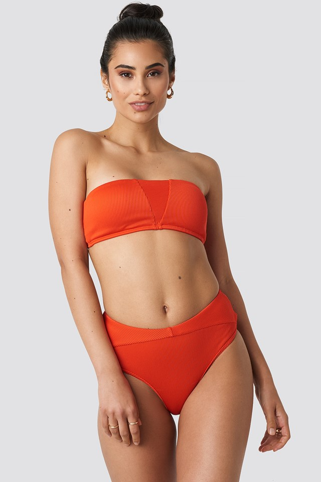 Ribbed Folded Bikini Pantie Red