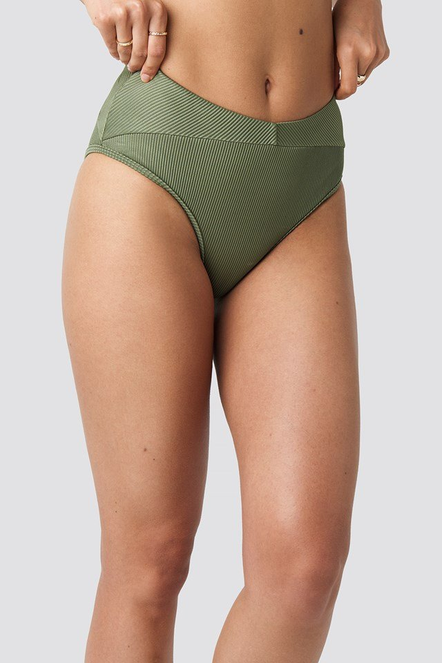 Ribbed Folded Bikini Pantie Army Green