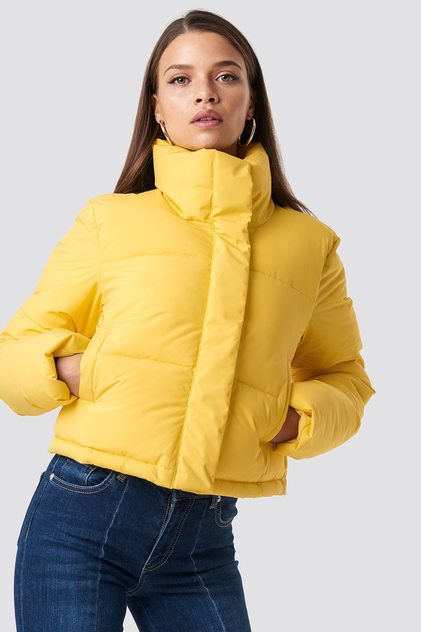 hannalicious x na-kd -  Short Puffy Jacket - Yellow
