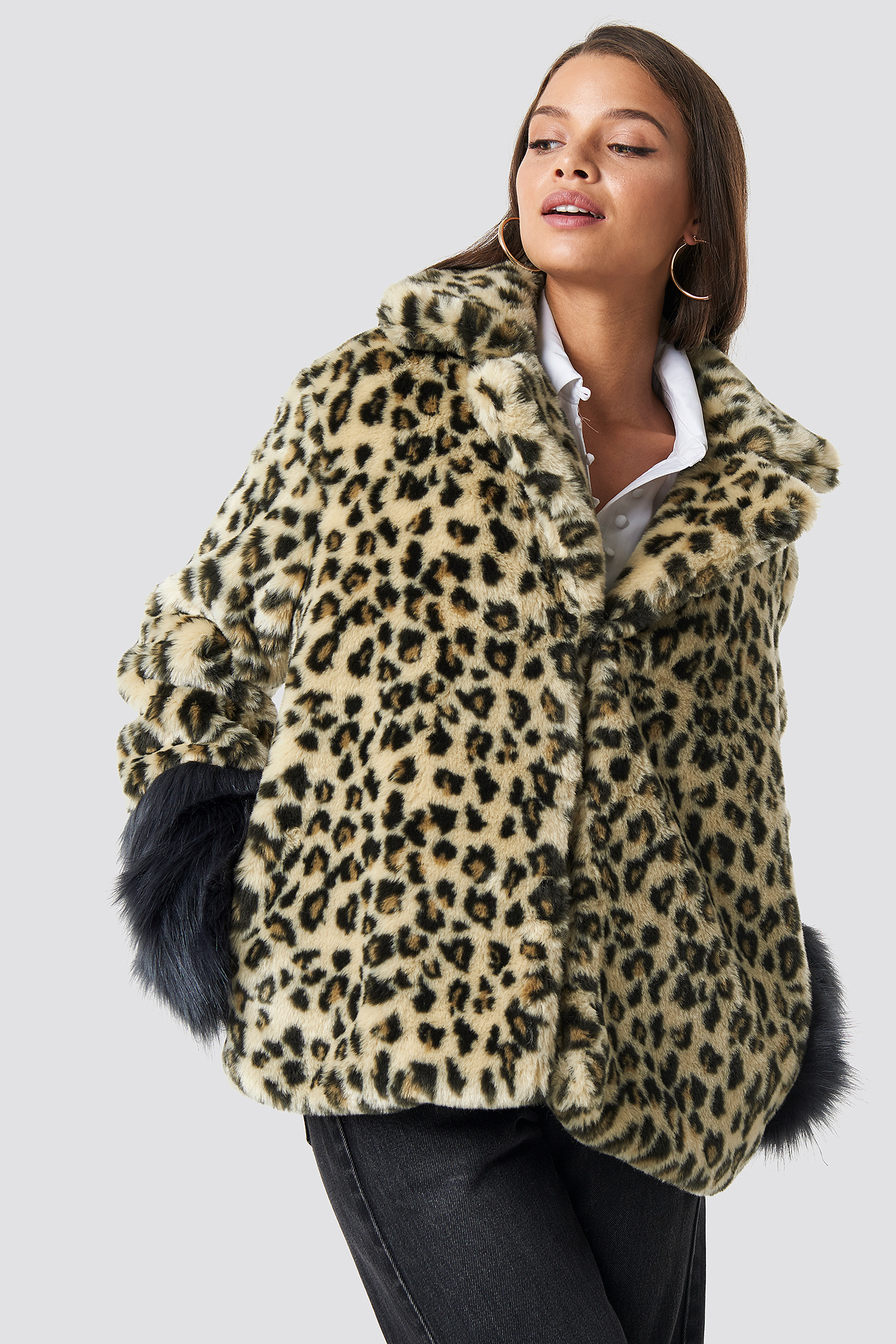 hannalicious x na-kd -  Sleeve Detailed Faux Fur Leo Jacket - Brown,Beige