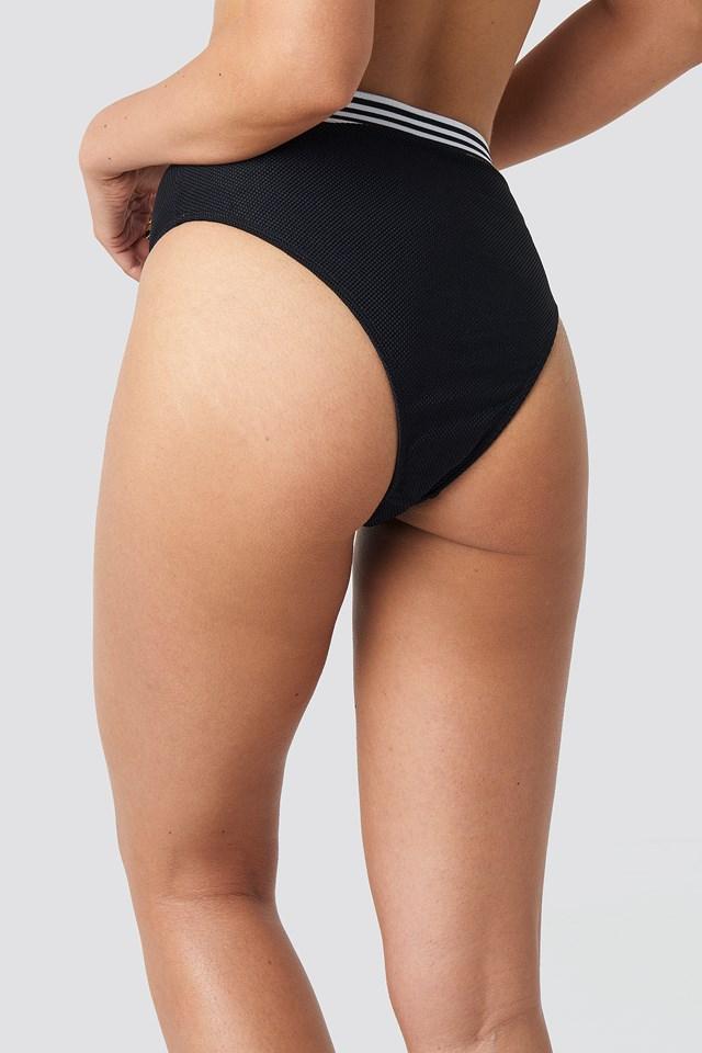 Striped Elastic Structured Bikini Pantie Black