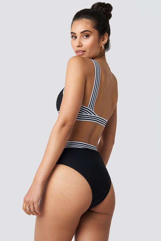 Striped Elastic Structured Bikini Top Black