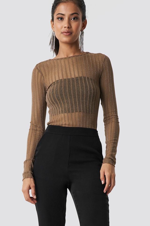 Striped Glittery Long Sleeve Top NA-KD.COM