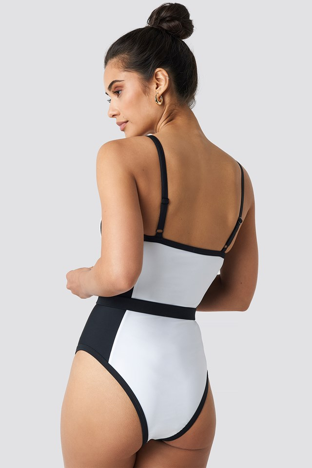 Thin Strap Waist Belted Swimsuit White