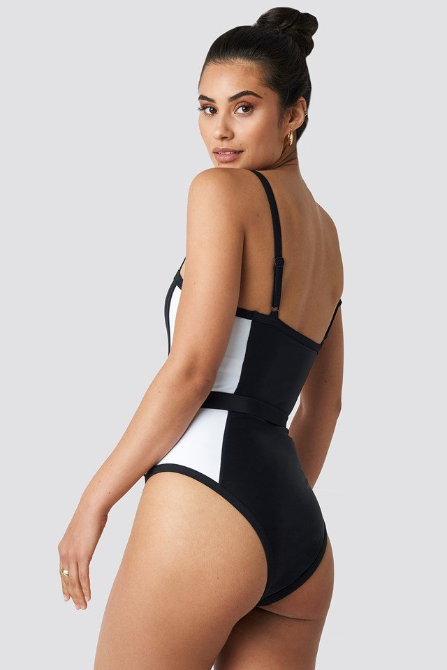 Thin Strap Waist Belted Swimsuit Black