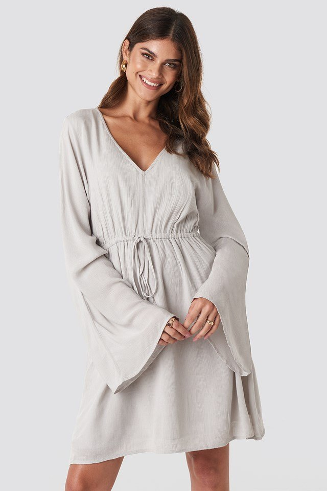 Trumpet Sleeve V-neck Dress Light Grey