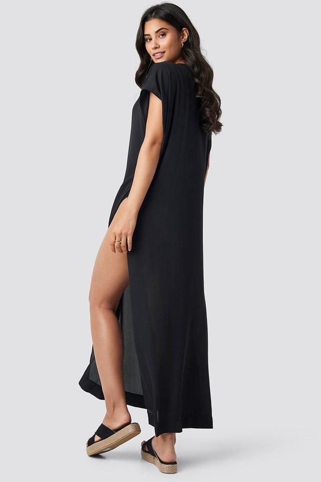 V-neck Beach Dress Black