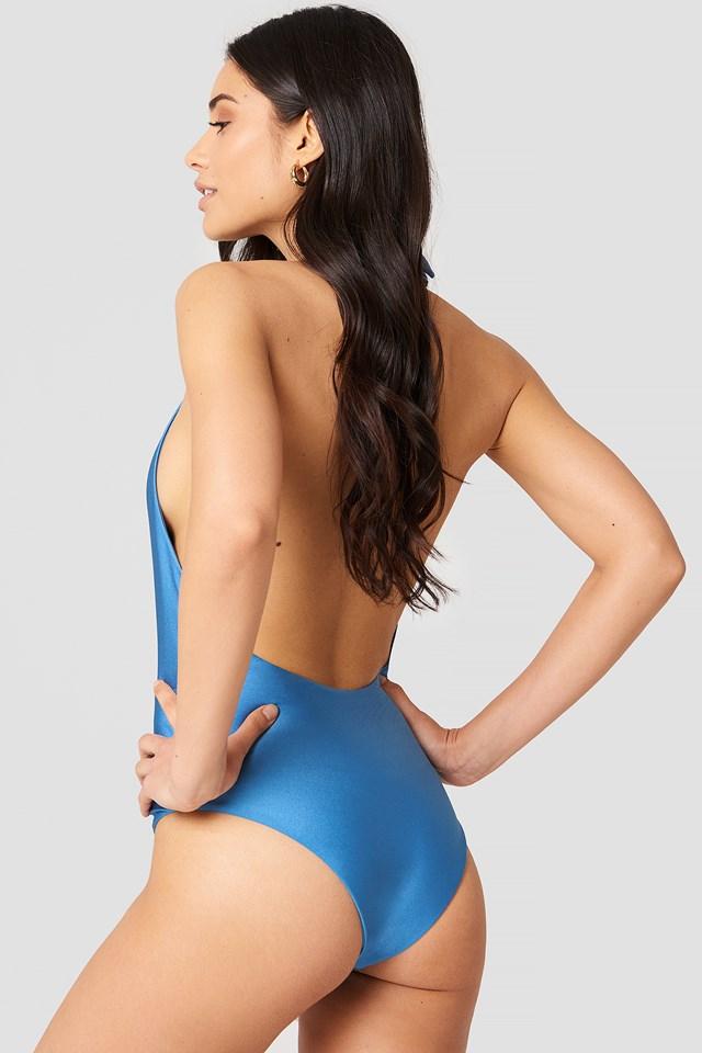 V-neck Swimsuit Blue