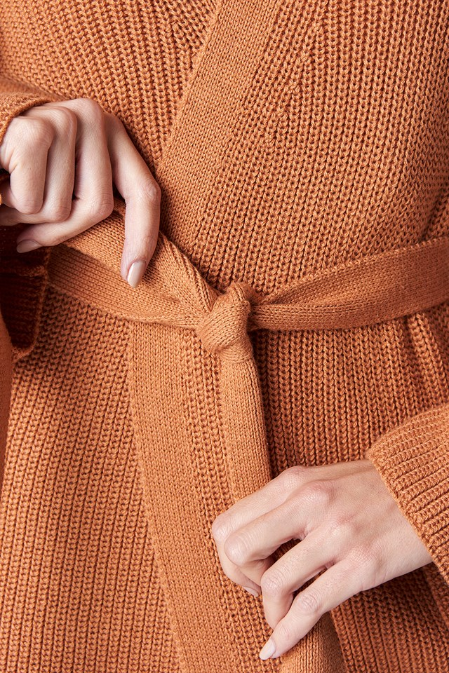 Wrapped Knitted Cardigan Terracotta
