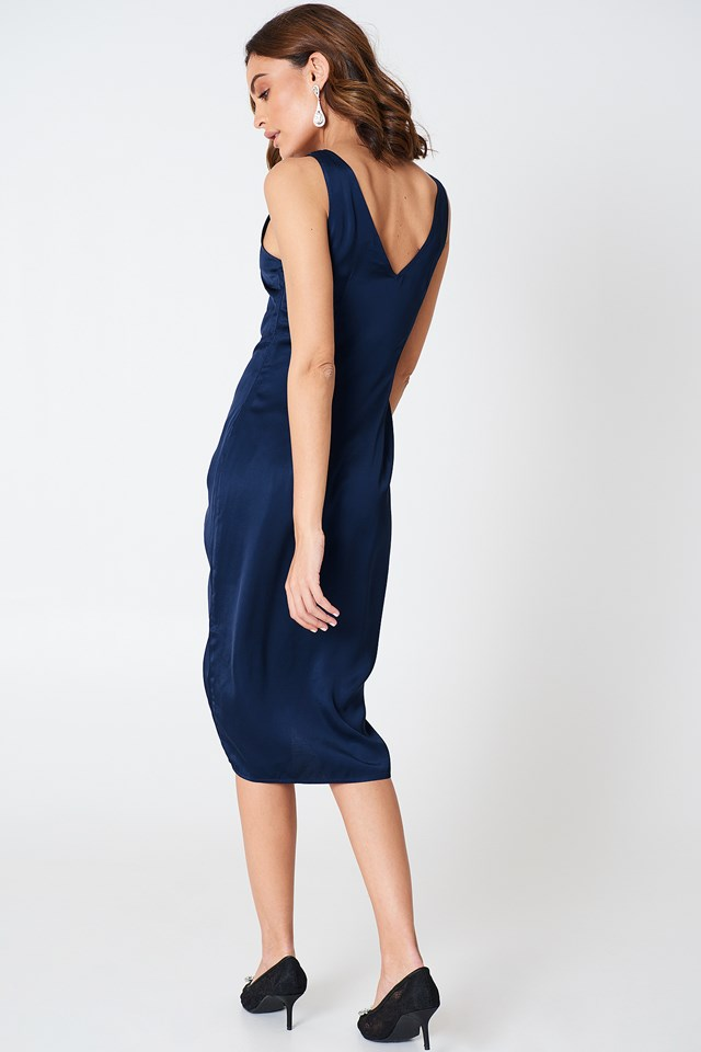 Drawstring Front Dress Navy