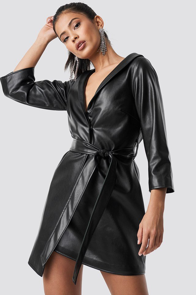 Faux Leather Blazer Dress Black