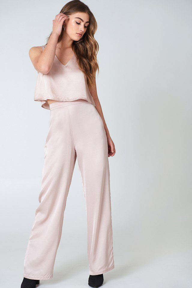 Flared Shiny Pants Nude Pink