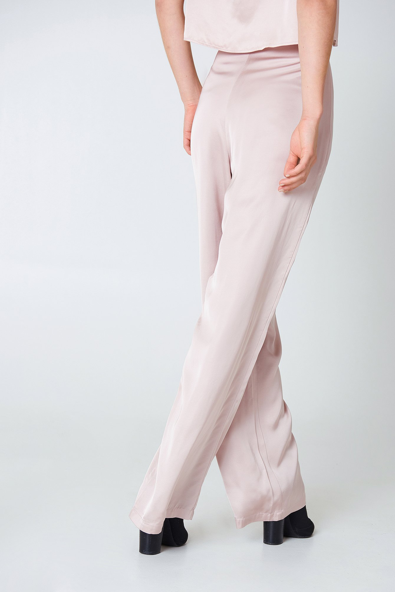 Nude Pink Flared Shiny Pants