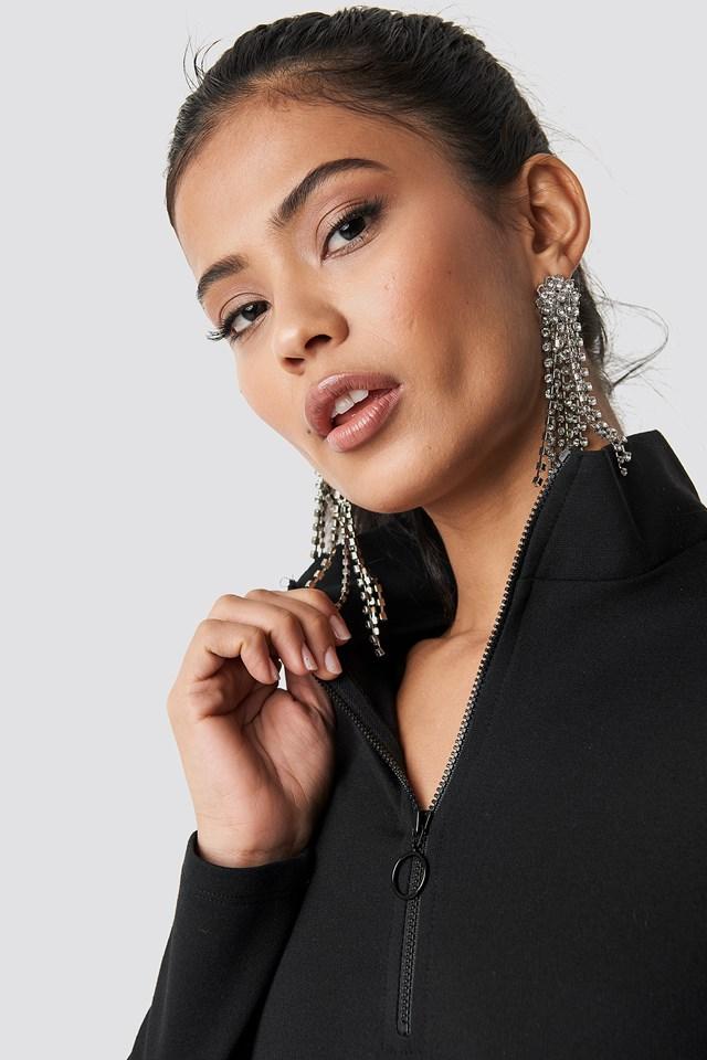 High Neck Zip Dress Black