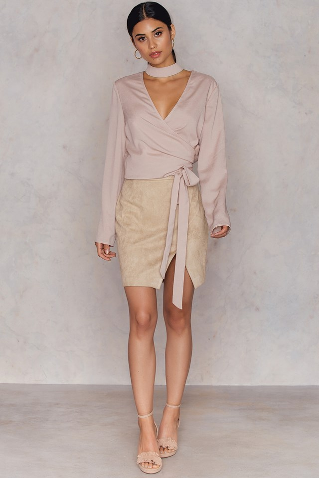 Overlapped Faux Suede Skirt Beige