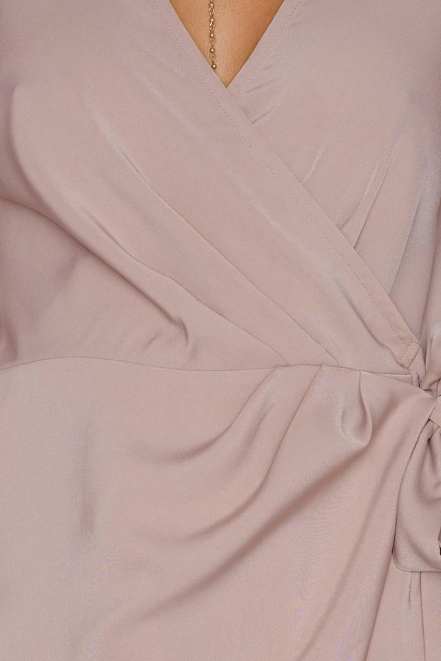 Overlapped Trumpet Sleeve Playsuit Nude Pink