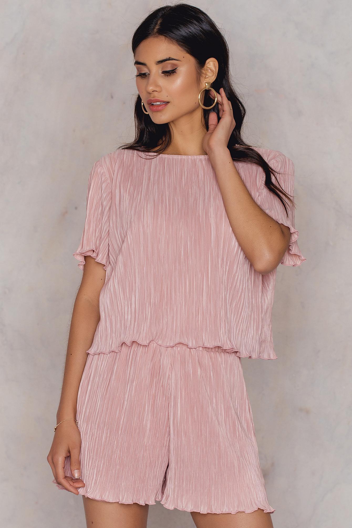 Hannalicious x NA-KD Pleated Top & Shorts Set - Pink