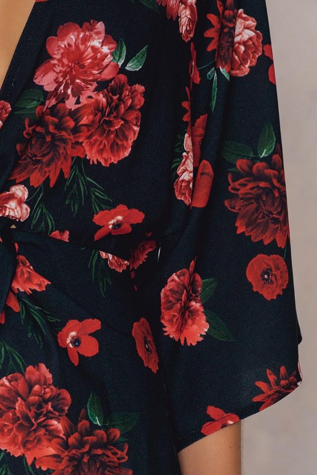 Printed Kimono Sleeve Knot Dress Print