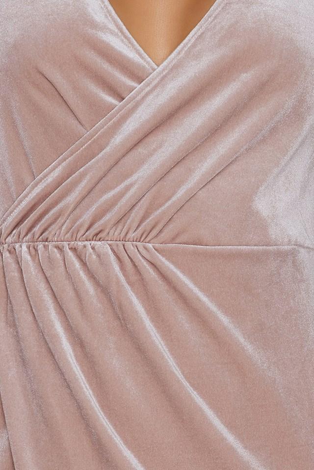 Ruched Velvet Dress Nude Pink