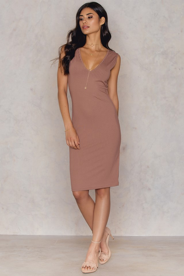 V-neck Ribbed Dress Pink Terracotta