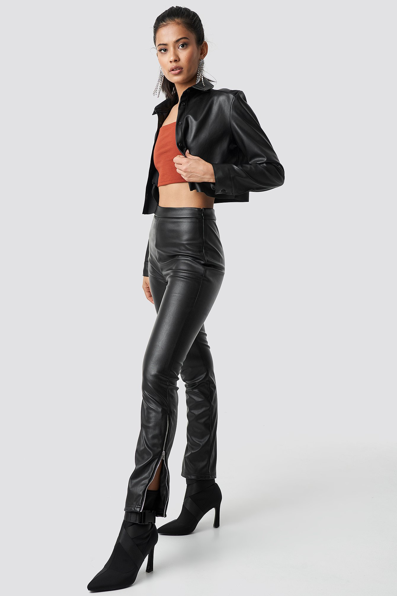 hannalicious x na-kd -  Zip Detailed Faux Leather Pants - Black