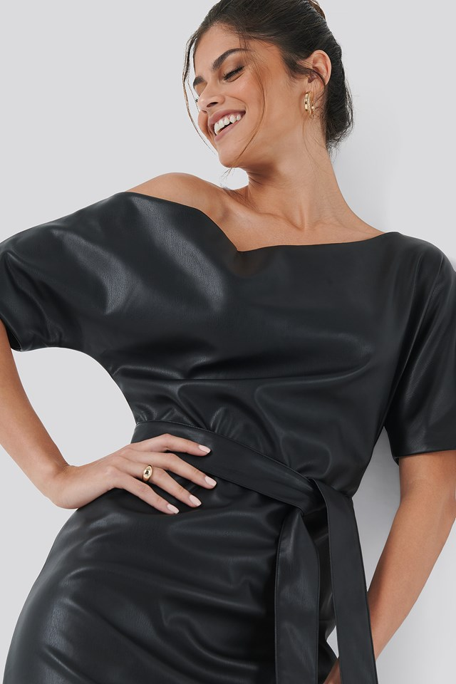 Off Shoulder PU Dress Black