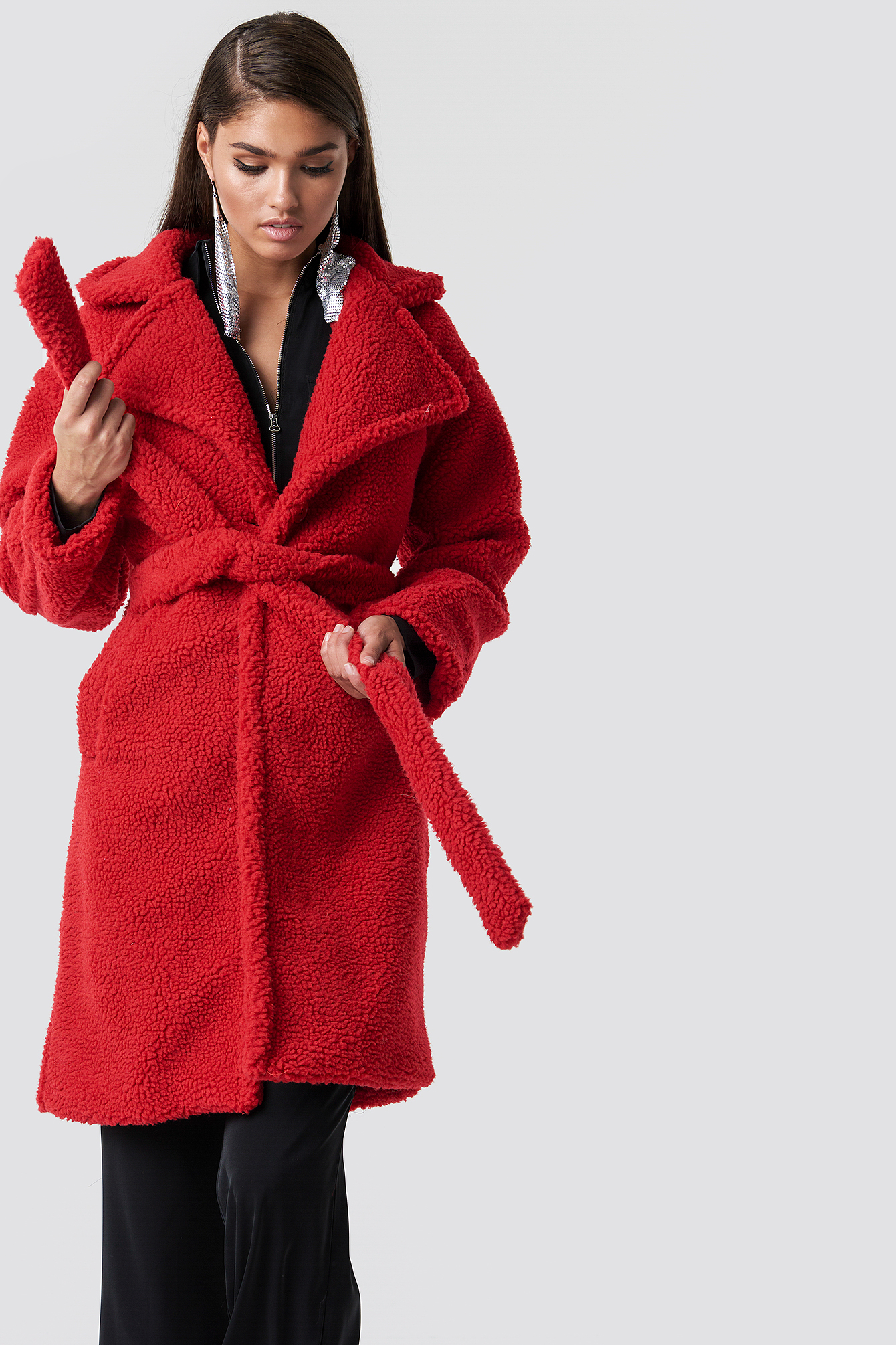 hannalicious x na-kd -  Midi Teddy Coat - Red